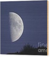 The Moon Over A Mountain  Wood Print
