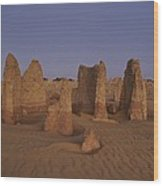 The Moon Rises Over Limestone Pinnacles Wood Print