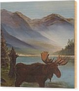 The Mountain Moose Wood Print