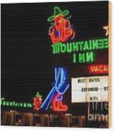 The Mountaineer Inn Neon Motel Series Wood Print
