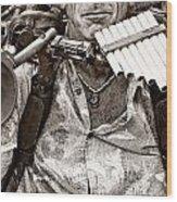 The Music Man - Monochrome Wood Print