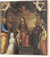 The Mystical Marriage Of Saint Catherine Wood Print by Fra Bartolomeo