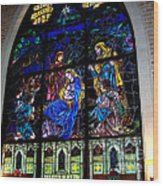 The Nativity Stained Glass Wood Print