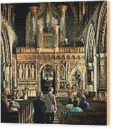 The Nave At St Davids Cathedral Wood Print