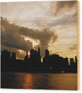 The New York City Skyline At Sunset Wood Print