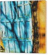 The Old Blue Door Wood Print