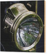 The Old Brass Ford Headlight Wood Print by Steve McKinzie