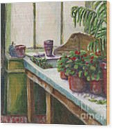 The Old Garden Shed Wood Print by Judith Whittaker