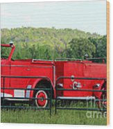 The Old Red Fire Engine Wood Print
