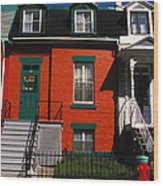 The Orange House In Montreal Wood Print