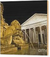 The Pantheon At Night. Piazza Della Rotonda.rome Wood Print