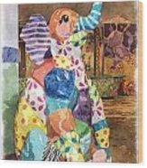 The Patchwork Elephant Art Wood Print