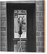 The Payphone - Black And White Wood Print