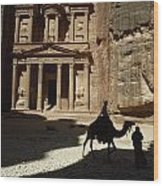 The Pharaohs Treasury Or Khazneh Wood Print
