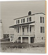 The Piney Point Lighthouse In Sepia Wood Print