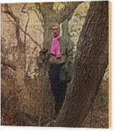 The Pink Scarf Wood Print