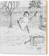 The Pirate In My Backyard - Sketch Wood Print by Robert Meszaros
