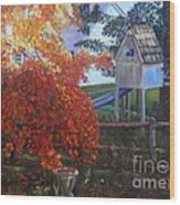 The Playhouse In Fall Wood Print