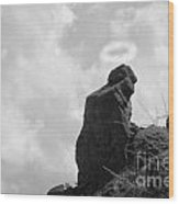 The Praying Monk With Halo - Camelback Mountain Bw Wood Print by James BO  Insogna