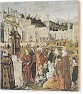 The Preaching Of Saint Stephen In Jerusalem Wood Print by Vittore Carpaccio