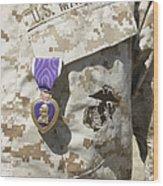 The Purple Heart Award Hangs Wood Print by Stocktrek Images