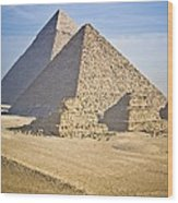 The Pyramids With Two Men On Camels Wood Print