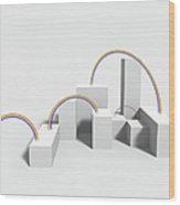 The Rainbow On White Background Wood Print