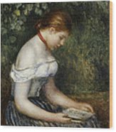 The Reader A Seated Young Girl  Wood Print by Pierre Auguste Renoir