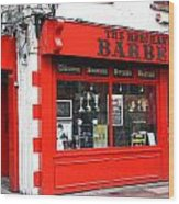 The Red Barber Shop Wood Print