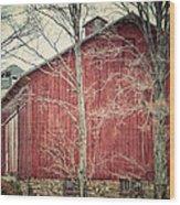 The Red Barn Wood Print