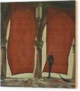 The Red Blinds Of Venice Fish Market Wood Print