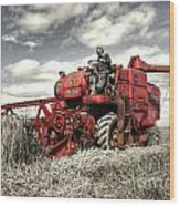 The Red Combine Wood Print