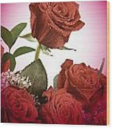 The Red Rose Center Of Love Wood Print