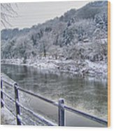 The River Severn In Ironbridge Frozen During Winter II Wood Print