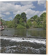 The Riverside And Weir - Bakewell Wood Print