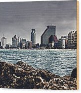 The Rocks_the Sea_the City Wood Print by Amr Miqdadi