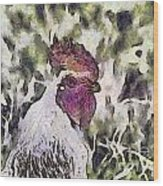 The Rooster Portrait Wood Print