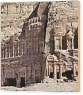 The Royal Tombs Petra, Jordan Wood Print by Marco Brivio