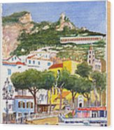 The Ruined Tower Above The Beach At Amalfi On The Southern Italian Coast Wood Print