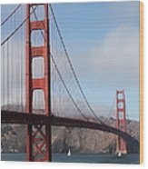The San Francisco Golden Gate Bridge - 5d18906 Wood Print by Wingsdomain Art and Photography