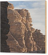 The Sandstone Cliffs Of The Wadi Rum Wood Print