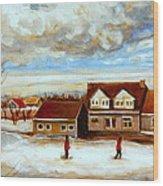 The Schoolhouse Winter Morning Quebec Rural Landscape Wood Print