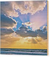 The Sea In The Sunset Wood Print