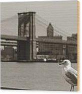 The Seagull Of The Brooklyn Bridge Wood Print
