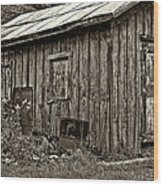 The Shed Sepia Wood Print by Steve Harrington