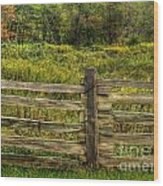 The Split Rail Meadow Wood Print by Benanne Stiens