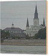 The St.louis Cathedral From Acorss The River Wood Print