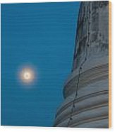 The Stupa In The Night During Full Moon Wood Print