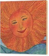 The Sun God Detail Of Red Sky At Night Wood Print