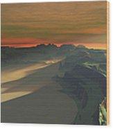 The Sun Sets On This Desert Landscape Wood Print